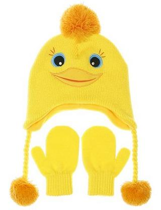 Nuzzles Yellow Duck Hat And Mitten Glove Set - Age 2-5 Years Thumbnail 1