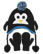 Nuzzles Black Penguin Hat And Mitten Glove Set - Age 5-9 Years