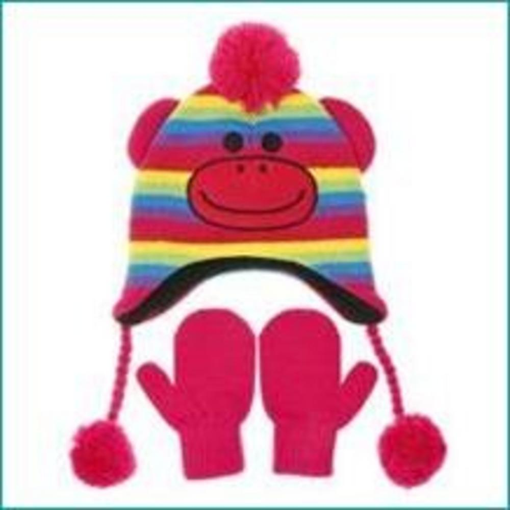 Nuzzles Coloured Sock Monkey Hat And Mitten Glove Set - Age 5-9 Years