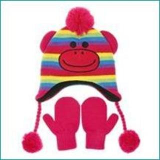 Nuzzles Coloured Sock Monkey Hat And Mitten Glove Set - Age 5-9 Years Thumbnail 1