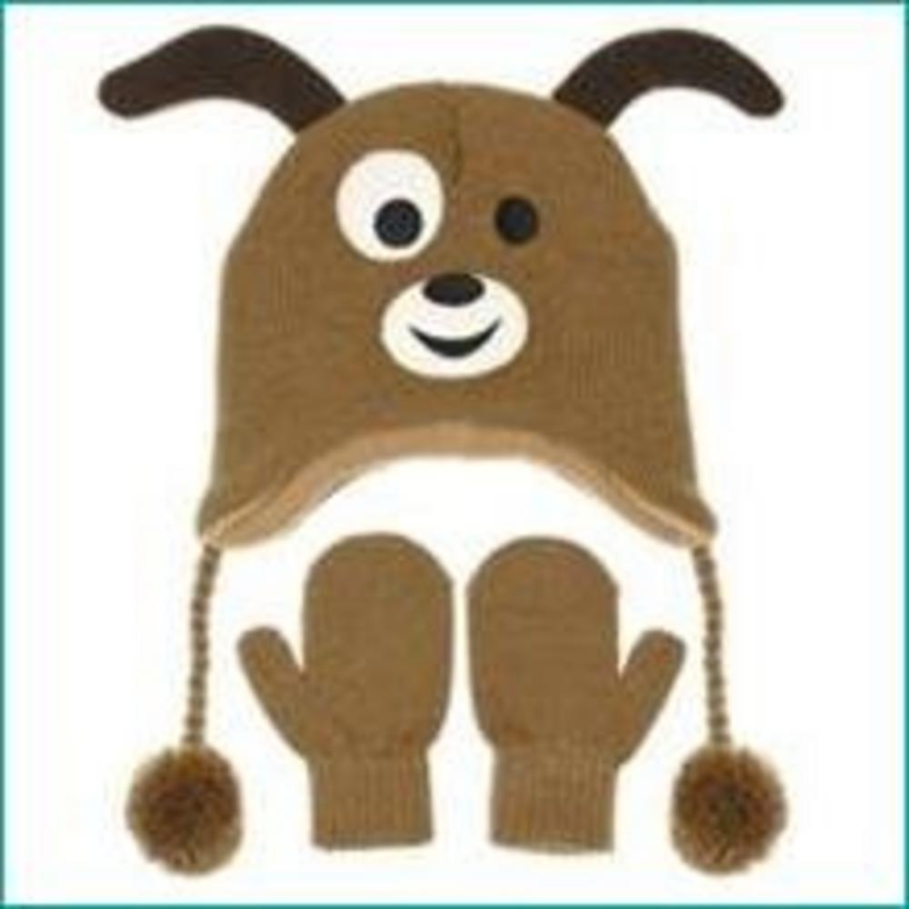 Nuzzles Brown Dog Hat And Mitten Glove Set - Age 5-9 Years