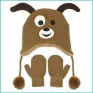 Nuzzles Brown Dog Hat And Mitten Glove Set - Age 5-9 Years Thumbnail 1