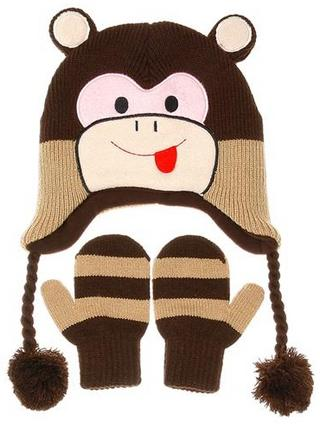 Nuzzles Monkey Hat And Mitten Glove Set - Age 5-9 Years Thumbnail 1
