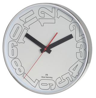 Oliver Hemming Contemporary British Design Chrome Steel 30Cm Wall Clock Quiet Thumbnail 1
