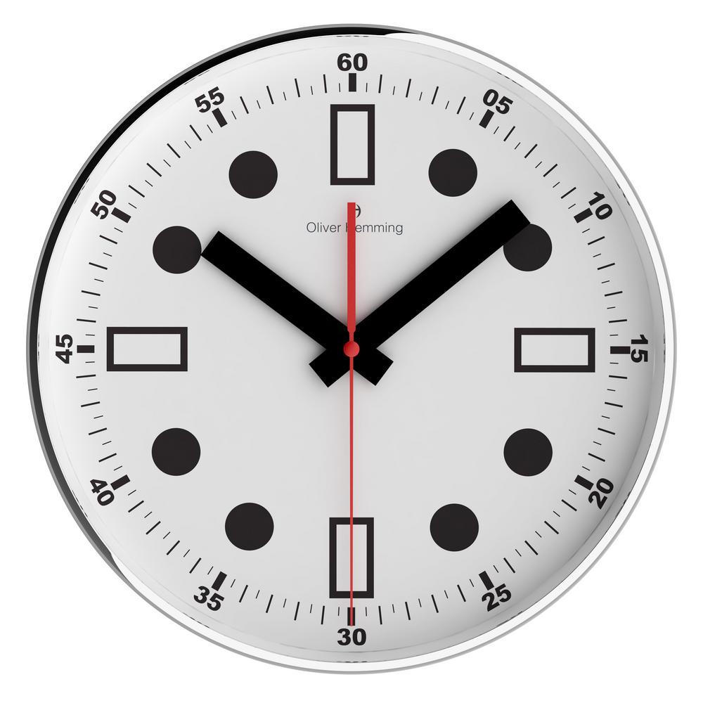Oliver Hemming Contemporary British Design Chrome Steel 30Cm Wall Clock Quiet
