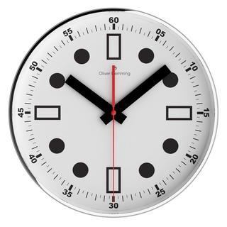 Oliver Hemming Contemporary British Design Chrome Steel 30Cm Wall Clock Quiet Thumbnail 1