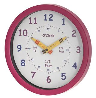Unity Children'S Bedroom Nursery Tell Learn The Time Wall Clock In Pink Girls Thumbnail 1
