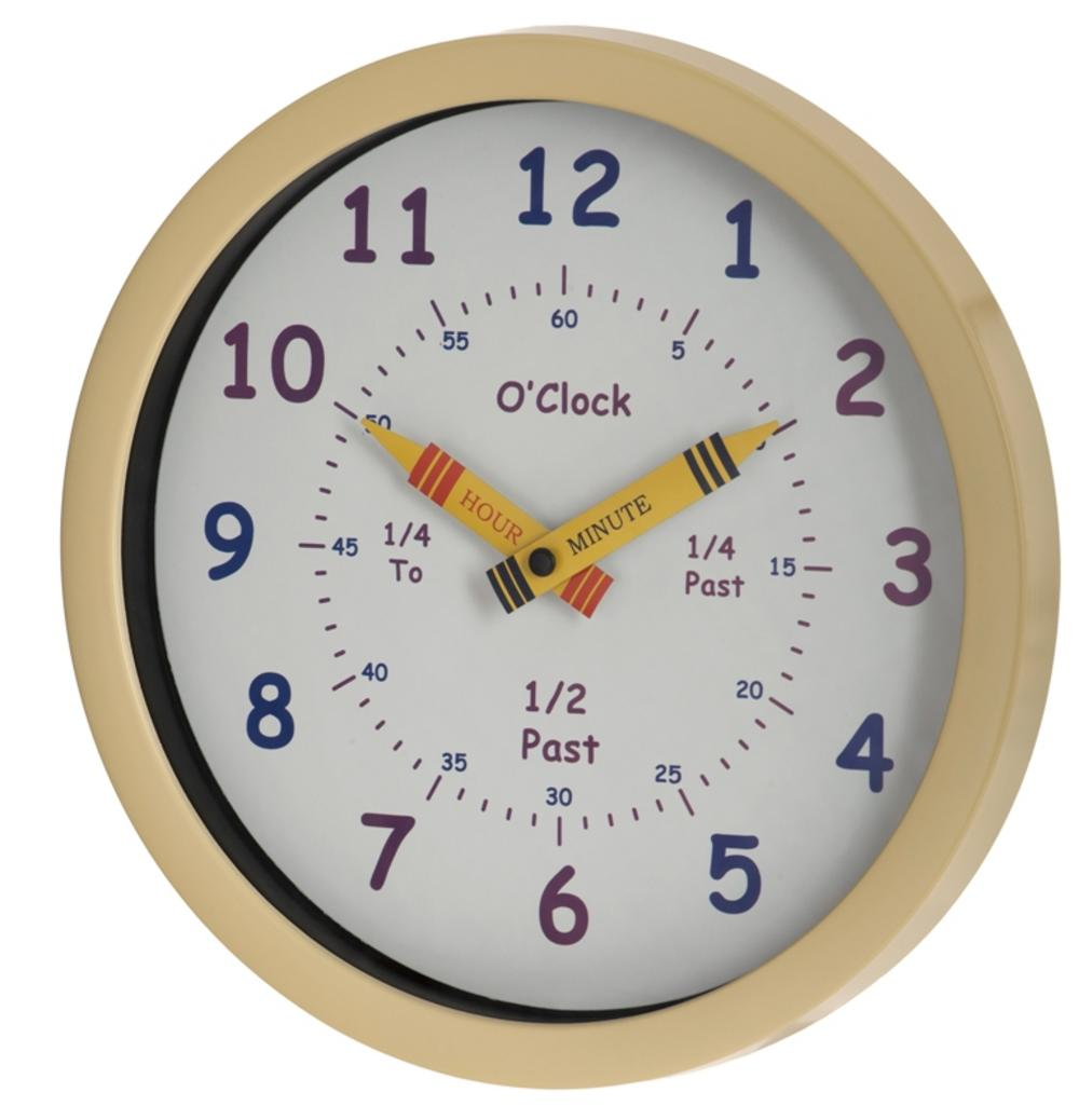 Unity Children'S Bedroom Nursery Tell Learn The Time Wall Clock Cream Boy Girl