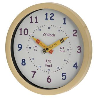 Unity Children'S Bedroom Nursery Tell Learn The Time Wall Clock Cream Boy Girl Thumbnail 1