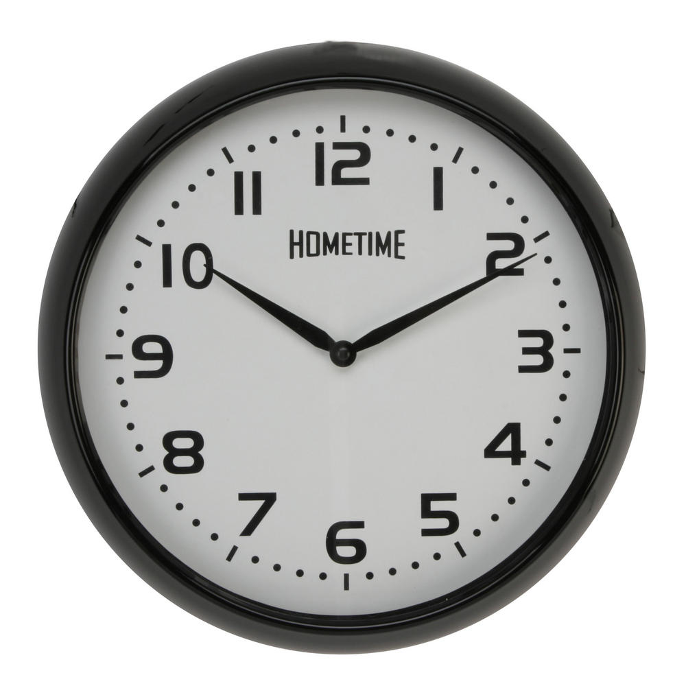 Hometime Wall Clock With Black Case And Arabic Dial 32 Cm Diameter New