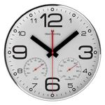 OLIVER HEMMING CONTEMPORARY CHROME STEEL GLASS LENS CLIMATE CENTRE WALL CLOCK