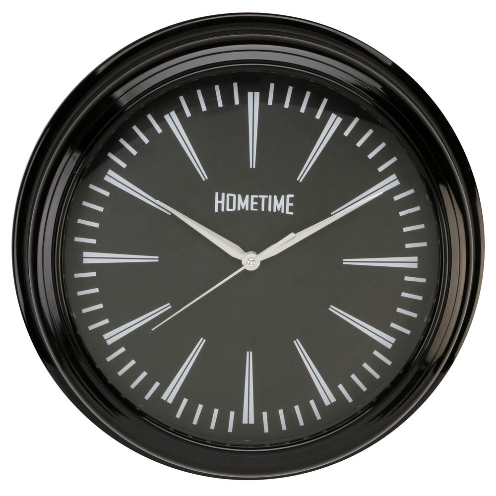 Hometime Wall Clock With Black Case 36 Cms Diameter Excellent Quality Stylish