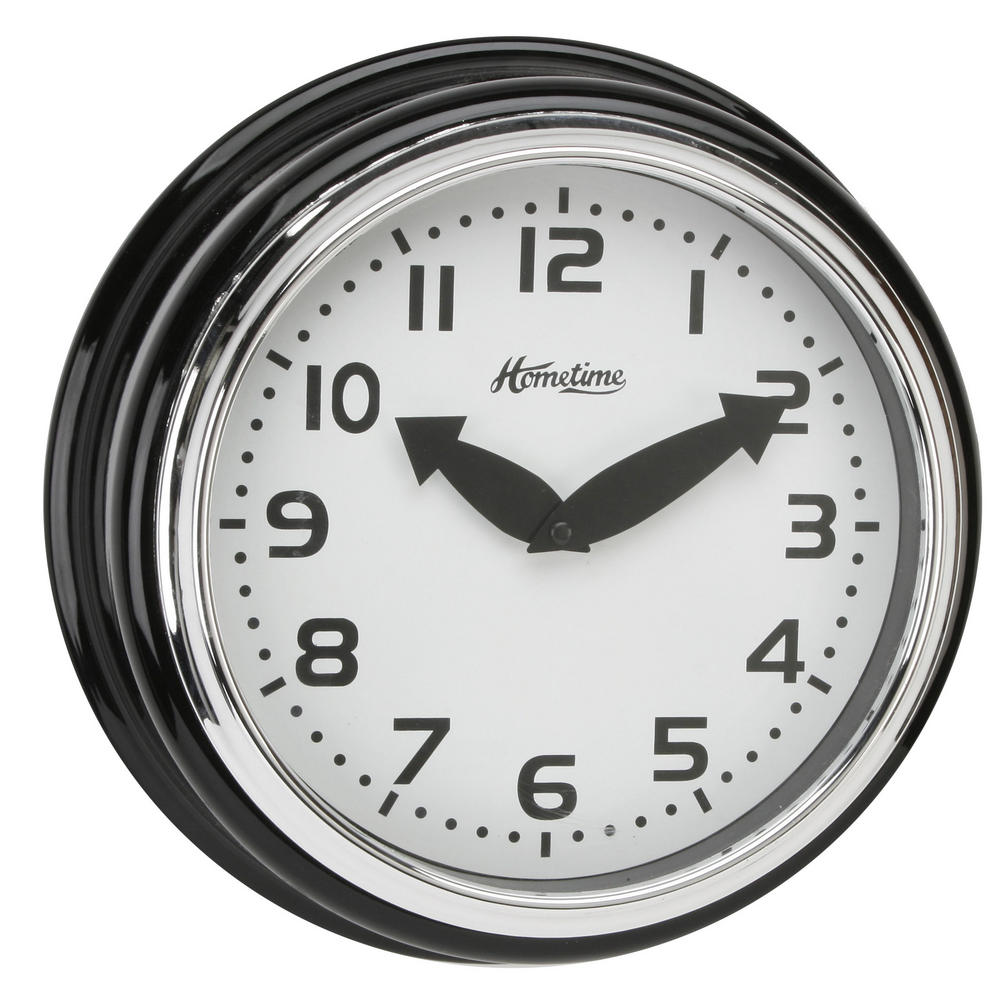 Hometime Wall Clock With Black Case With Arabic Dial 30 Cm Diamrter  Stylish New