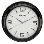 HOMETIME WALL CLOCK WITH BLACK SHINY CASE AND SHINY SILVER CLASSIC ARABIC DIAL