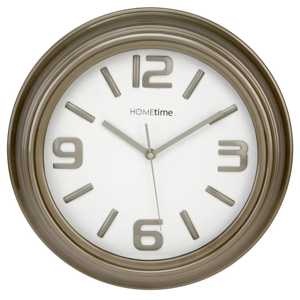 Hometime Wall Clock Grey Shiny Case With Shiny No'S Arabic Dial Case