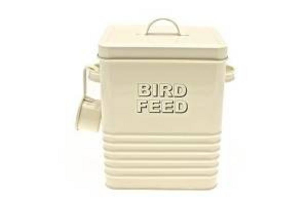 Home Sweet Home Cream Birdfeed Cream Box Storage Tin With Scoop And Handle