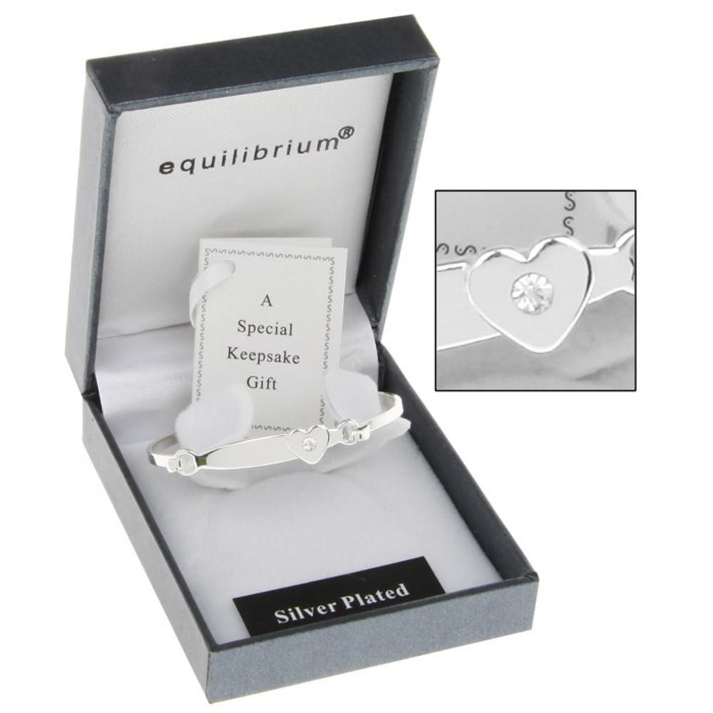 Equilibrium Silver Plated Christening Heart Bangle And Gift Box