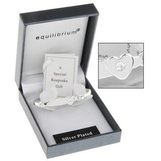 Equilibrium Silver Plated Christening Heart Bangle And Gift Box Thumbnail 1