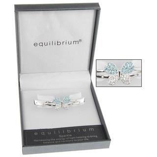 Equilibrium Silver Plated Butterfly Aqua Blue Bracelet Gift Box Thumbnail 1