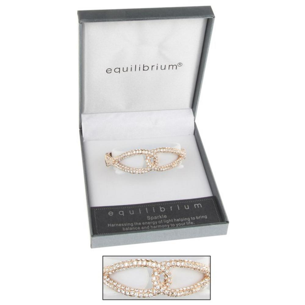 Rose Gold Linked Hinged Bangle Clear Equilibrium Clear Linked Gift Boxed