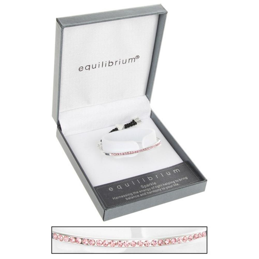 Equilibrium Silver Plated Half Bangle In Pink Leather Bracelet