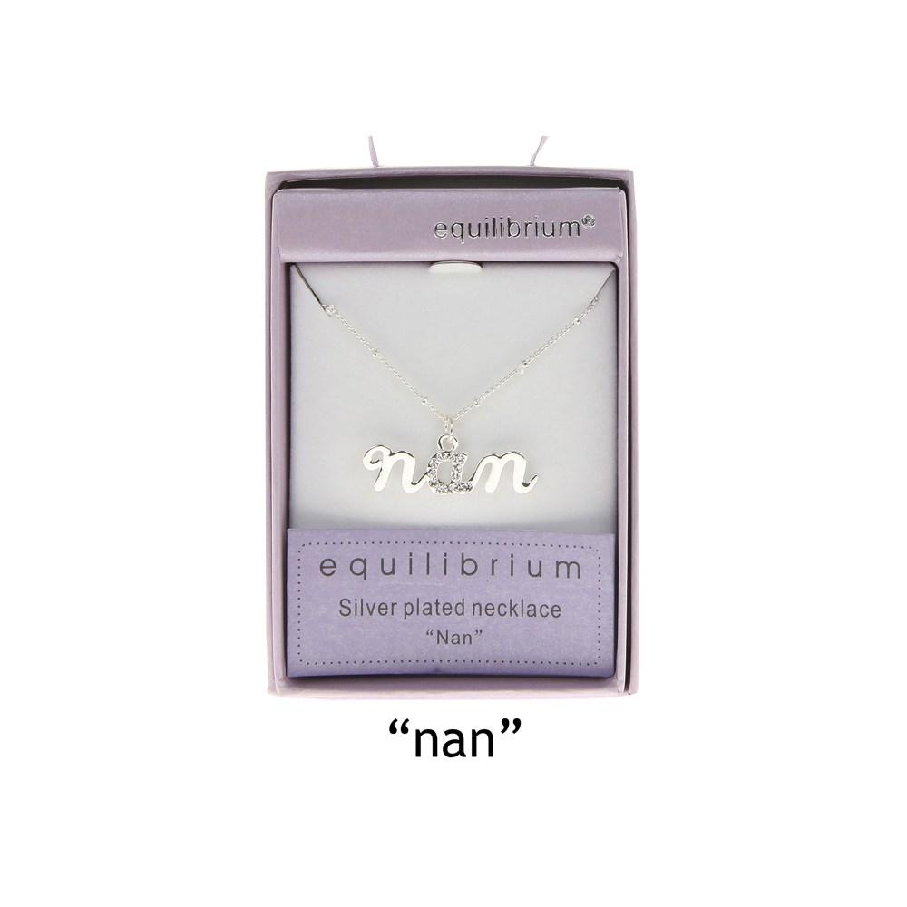 """Equilibrium Silver Plated Word Necklace """"Nan"""" Diamante Gift Boxed"""