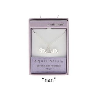"""Equilibrium Silver Plated Word Necklace """"Nan"""" Diamante Gift Boxed Thumbnail 1"""