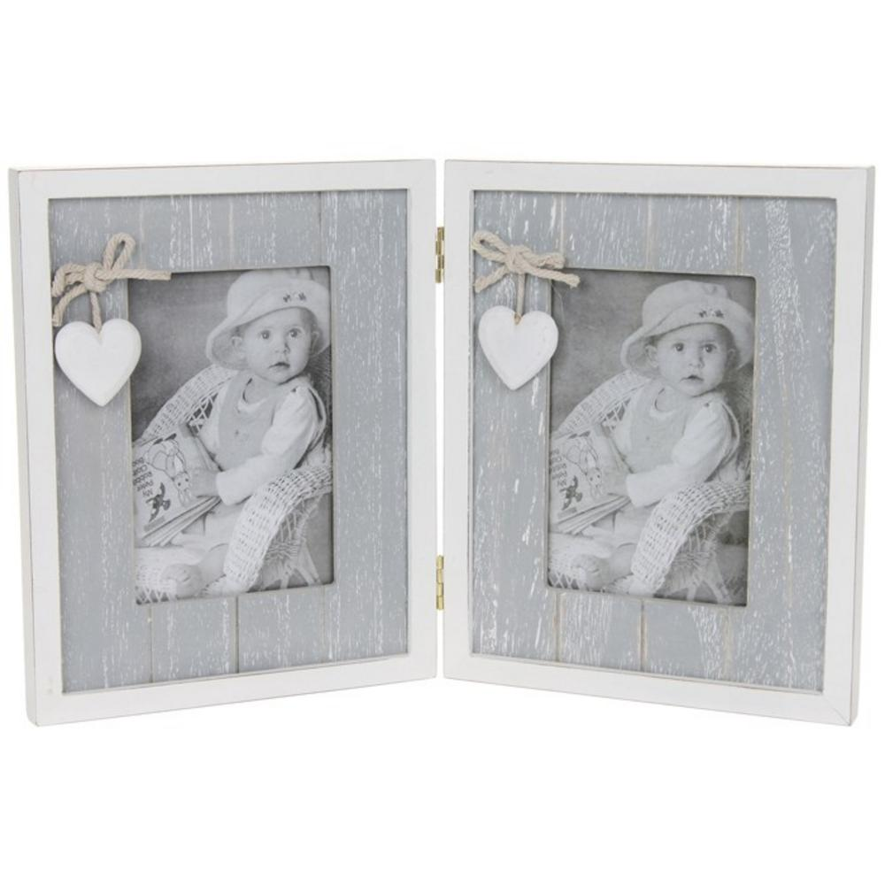 Provence Grey Double Picture Photo Frame In Shabby Chic Style  3 X 5
