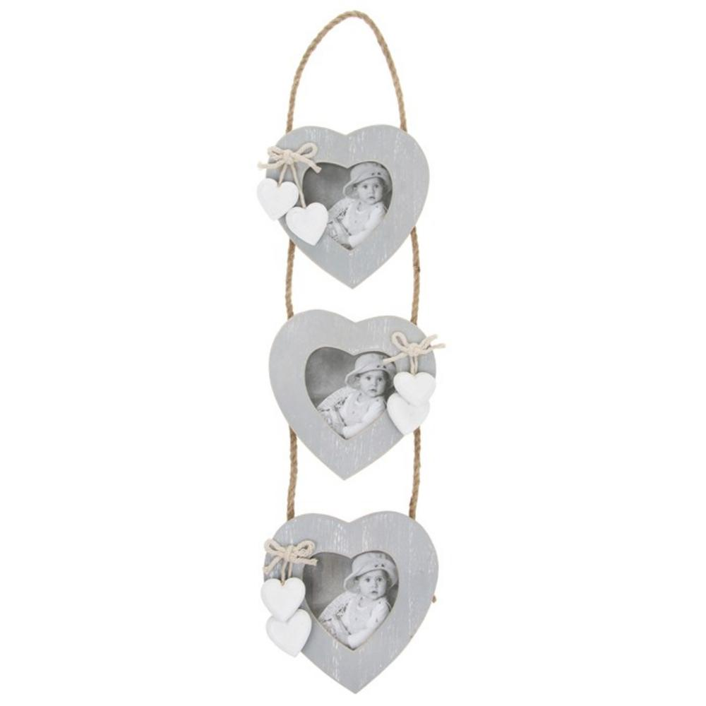 Provence Grey 3 Heart Hanging Picture Photo Frame