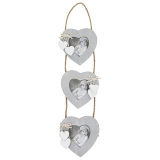 Provence Grey 3 Heart Hanging Picture Photo Frame Thumbnail 1