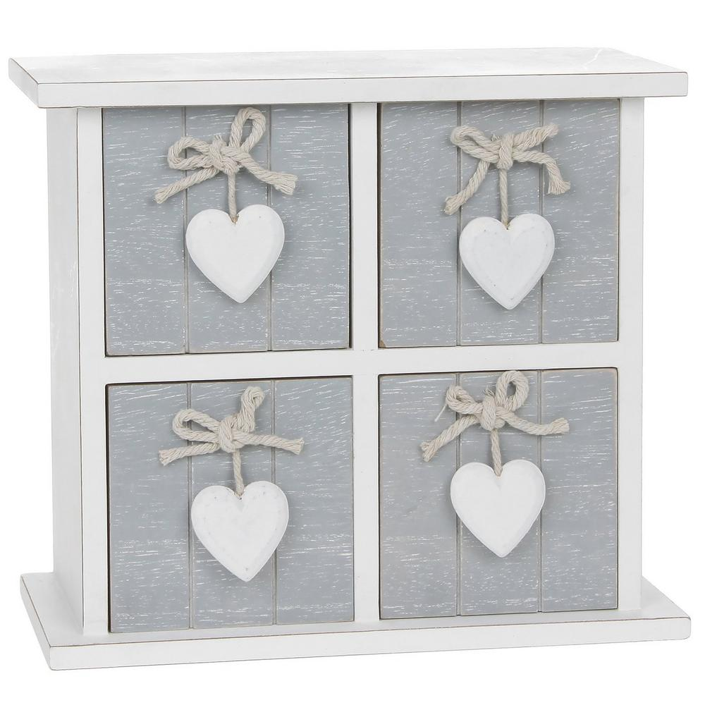Provence Grey Four Drawer Chest With Hearts 26 X 16Cm Shabby Chic Square Design