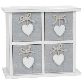 Provence Grey Four Drawer Chest With Hearts 26 X 16Cm Shabby Chic Square Design Thumbnail 1
