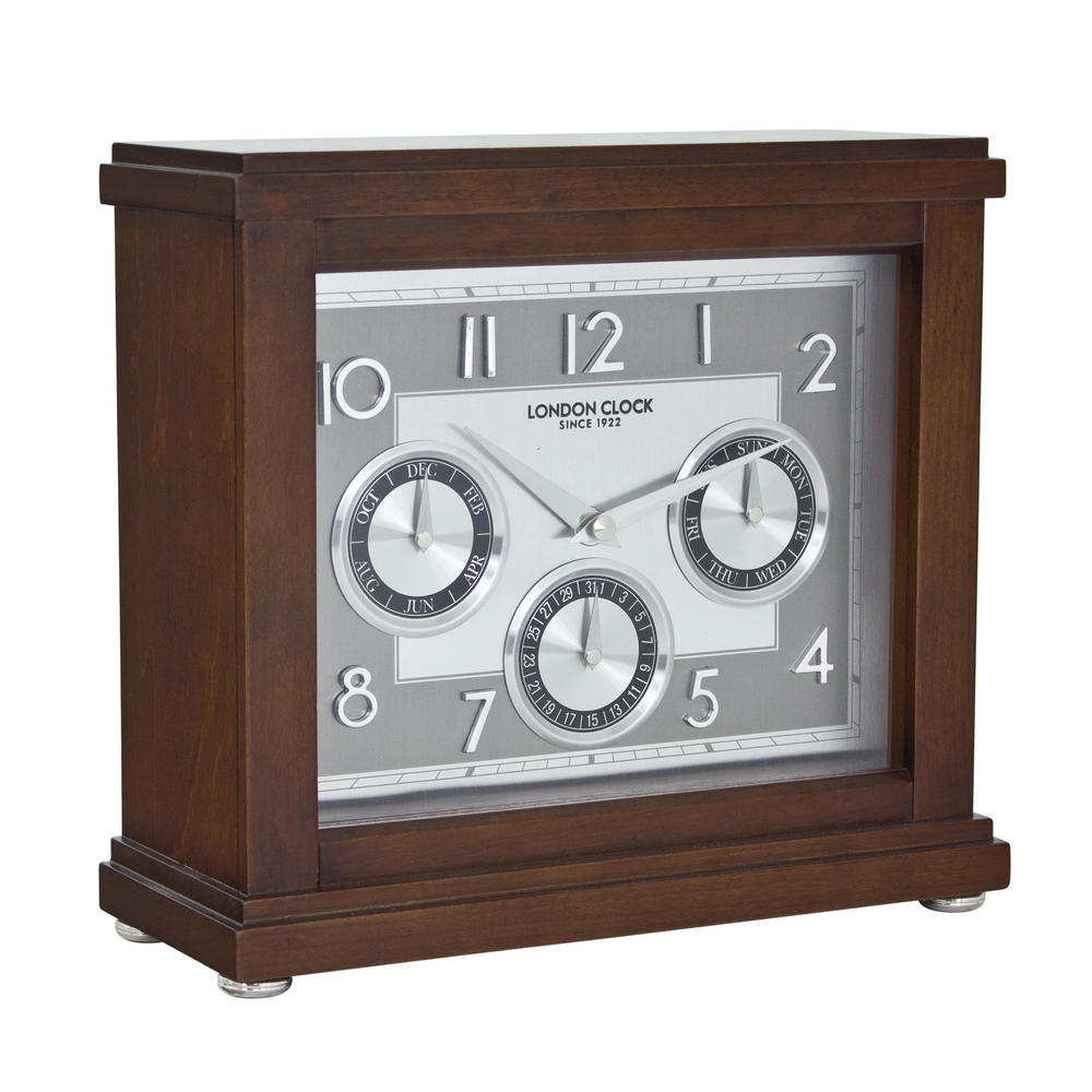 London Clock Company Flat Top Calendar Mantel Clock Dark Wood Finish  Day Date