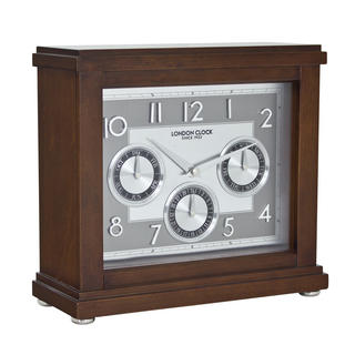 London Clock Company Flat Top Calendar Mantel Clock Dark Wood Finish  Day Date Thumbnail 1