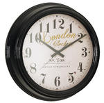 London Clock Company Black Deep Case 50Cm Extra Large Metal Wall Clock Station