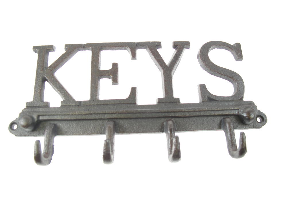 Stone The Crows Cast Iron Key Hook Decorative Wall Art 4 Hooks