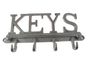 Stone The Crows Cast Iron Key Hook Decorative Wall Art 4 Hooks Thumbnail 1