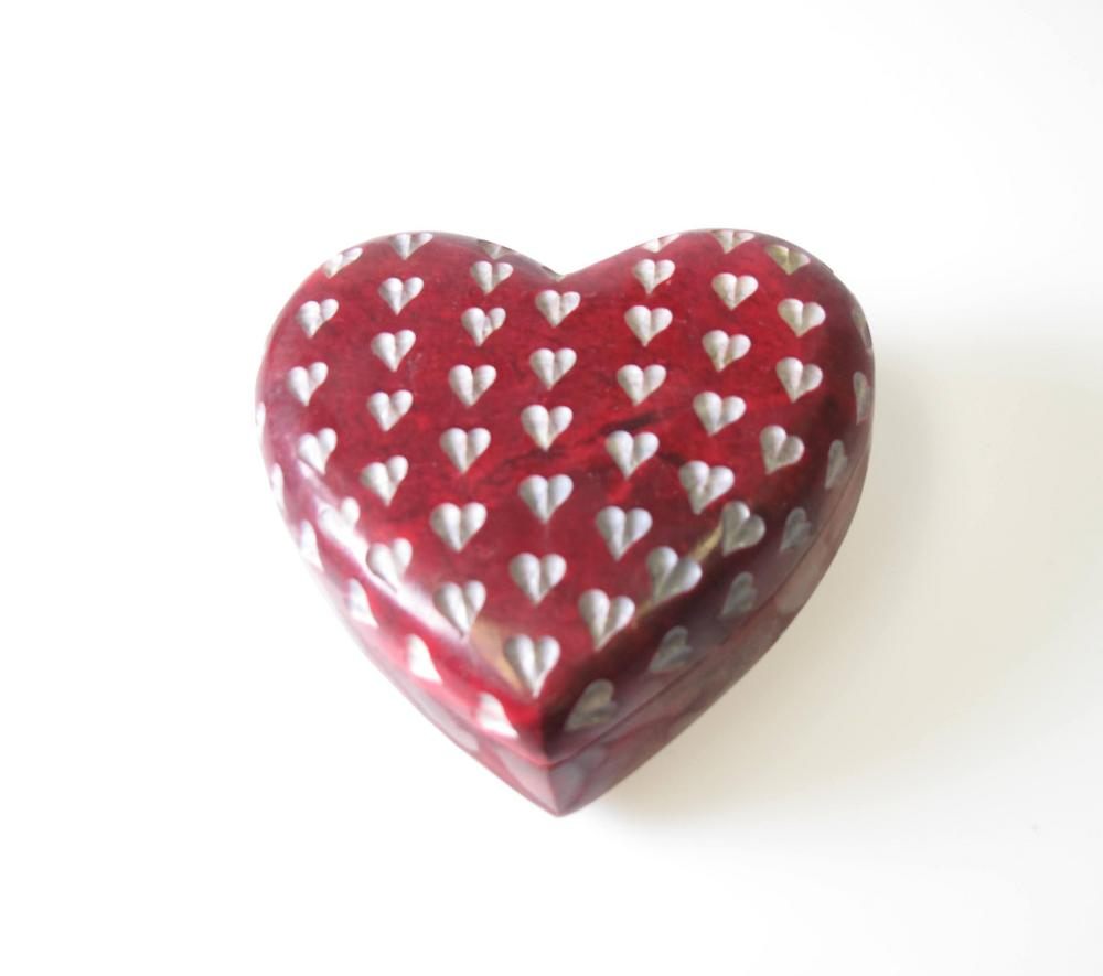 Stone The Crows Hand Made Red Heart Carved Trinket Box