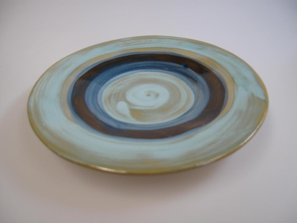 Mini Side Dish Plate Mediterranean Style Green Brown Blue