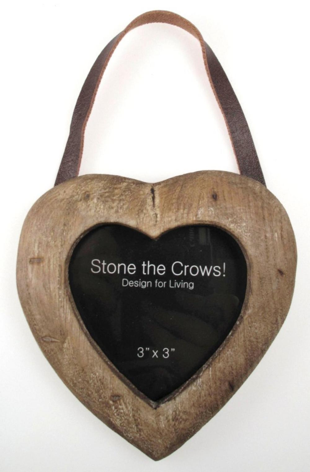 Stone The Crows Single Heart Hanging Wooden Photo Frame 3X3
