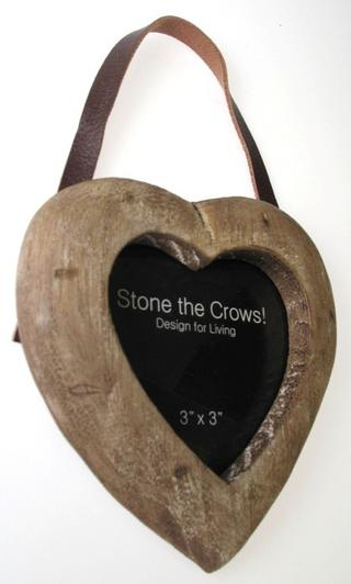 Stone The Crows Single Heart Hanging Wooden Photo Frame 3X3 Thumbnail 2