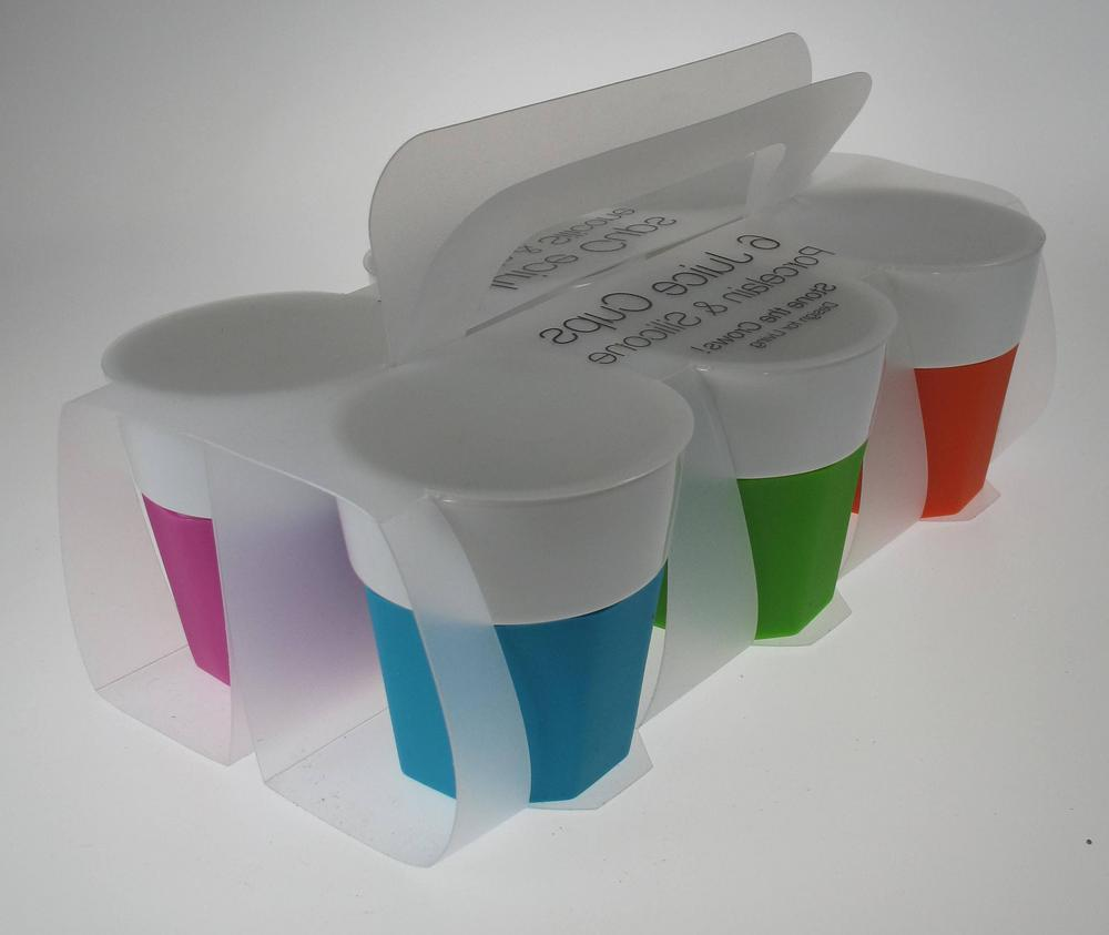 Stone The Crows Set Of Six Juice Cups Assorted Colours Porcelin And Silicone