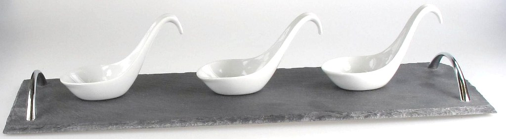 Stone the crows set of three canape spoons with slate for Canape serving platters