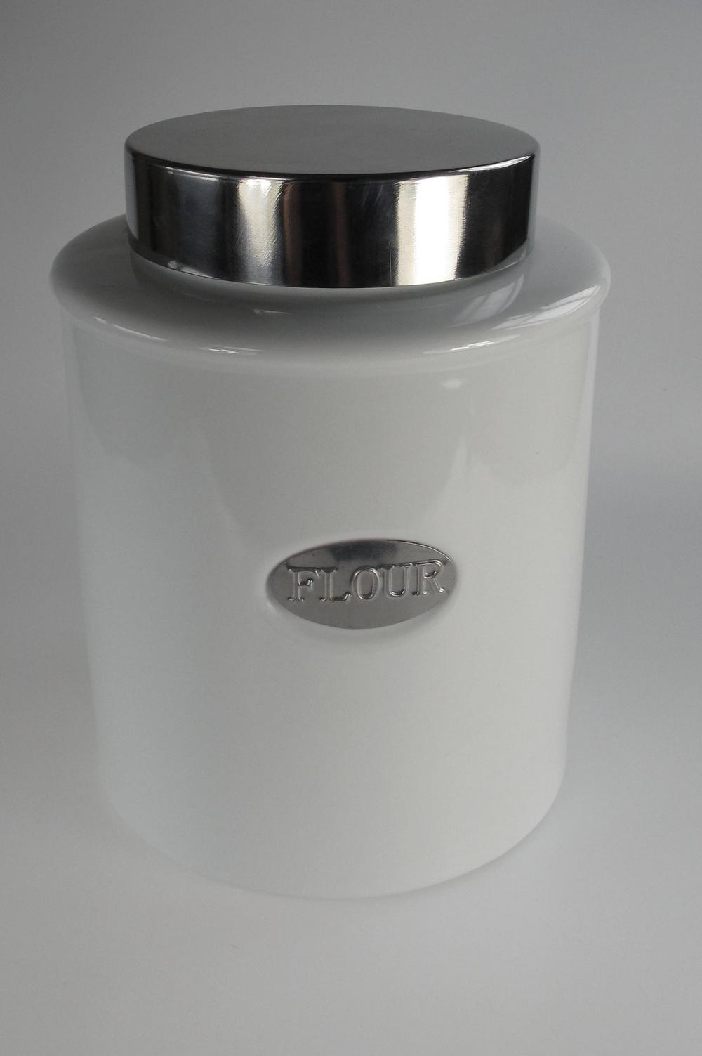 Stone The Crows Flour Canister White Porcelain With Air Tight Lid Silver Panel