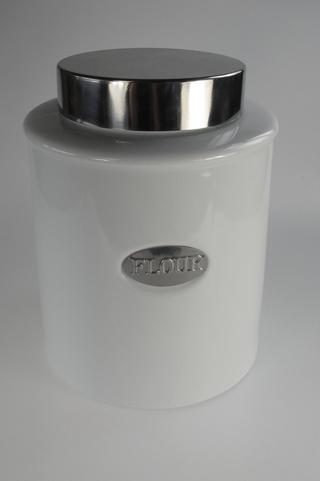 Stone The Crows Flour Canister White Porcelain With Air Tight Lid Silver Panel Thumbnail 1