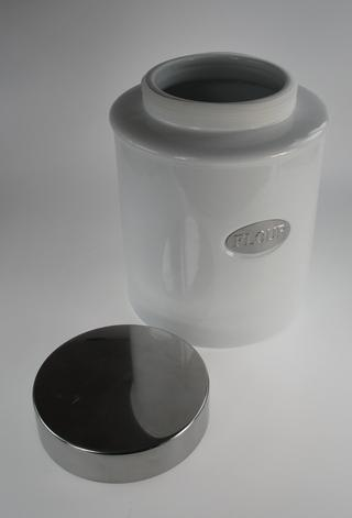 Stone The Crows Flour Canister White Porcelain With Air Tight Lid Silver Panel Thumbnail 2