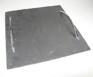 Stone The Crows Small Square Shaped Two Handeled Slate Serving Tray Thumbnail 2