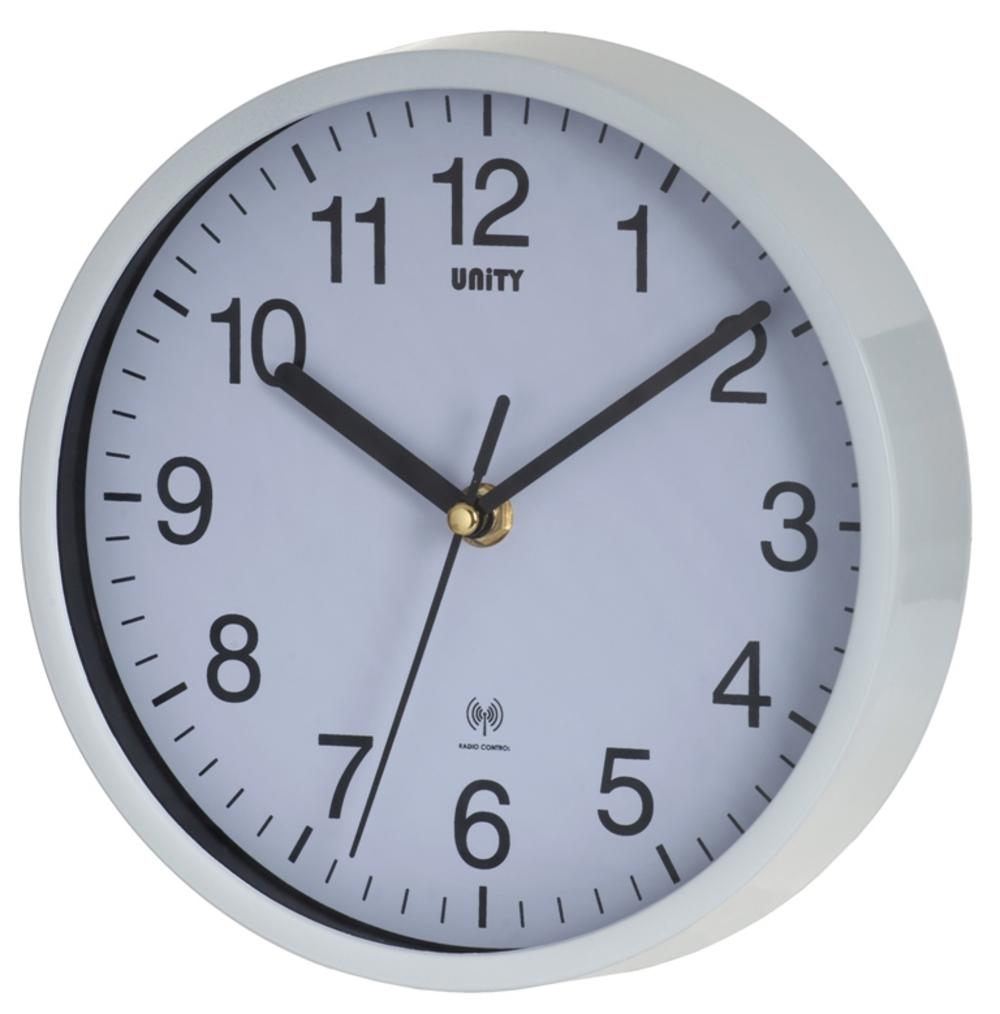 "Unity Radio Controlled Wall Clock White Radcliffe 8"" 20Cm"