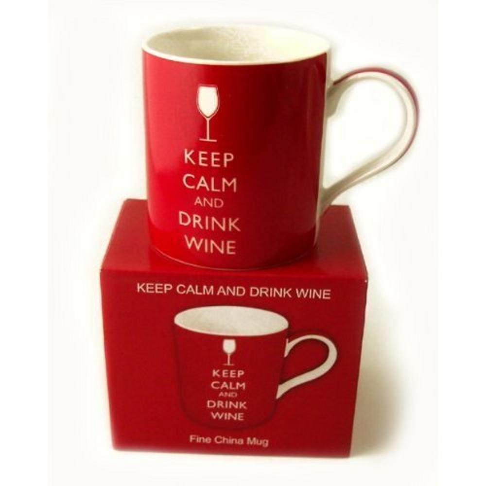 Keep Calm And Drink Wine Fine China Mug In Gift Box - Ideal Gift Present