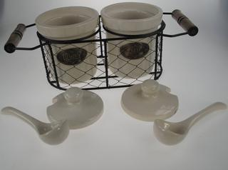 Stone The Crows Jam And Honey Pots With Spoon And Wire Rack Holder And Spoon Thumbnail 2